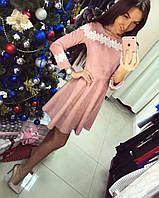 Замшевое платье с белым кружевом