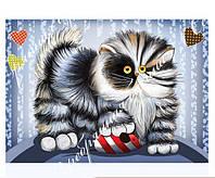 """Схема для вышивки бисером c кошкой """"Кот и мышь"""""""
