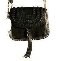 Брендовая кожаная сумочка Chloé черная через плечо