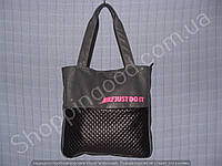 Женская сумка Nike 013645 серая с черным розовая эмблема спортивная кожвинил