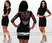 Нарядное платье с гипюром и стразами