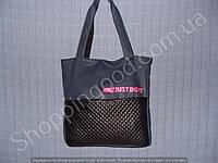 Женская сумка Nike 013648 голубая с черным розовая эмблема спортивная из кожвинила