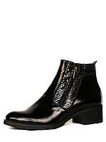 """Демисезонные женские ботинки """"Две молнии"""" из лакированной кожи"""