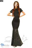 Черное длинное  платье с открытой спиной