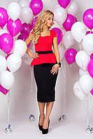 Платье 892 с красным верхом и черной юбкой иммитация юбки и блузона с баской