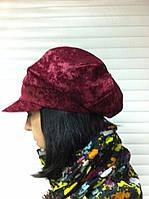 Женская демисезонная кепка из микровельвета цвет бордовый