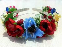 Ободок с маковыми цветами