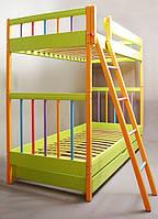 Двухъярусная детская кровать  с регулируемой высотой Трансформер Цветная