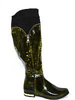 Сапоги кожаные женские демисезонные, зеленый лак, широкое голенище!