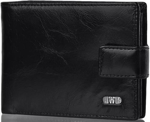 Кожаное, качественное мужское портмоне WANLIMA (ВАНЛИМА) W31525360001-black черный