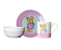 Набор детской посуды Медвежонок девочка 3 предмета KERAMIA