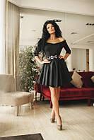 Красивое женское черное платье с фатином