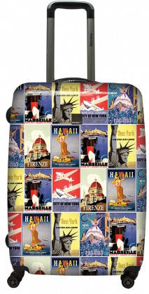 Большой прочный чемодан на 4-х колесах, 80 л. SAXOLINE BLUE Vintage Poster, B11HC.71;09 синий