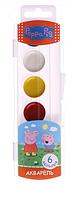 """Краски акварельные медовые """"Peppa Pig"""", 6 цветов"""