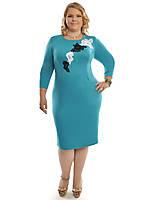 Модное трикотажное платье с аппликацией ,размеры 48-62,модель ДК 447