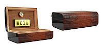 Хьюмидор 0257500 для 25 сигар Colton, коричнев. кожа/крокоиммитация 29х20х11 см