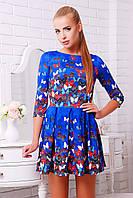 Яркое женское приталенное платье до колен р.S,М,L дайвинг