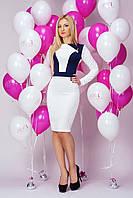 Модное белое платье из стеганного трикотажа. Размеры 44-50