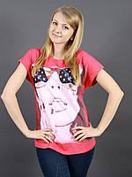 Женская футболка спинка из гипюровой вставкой