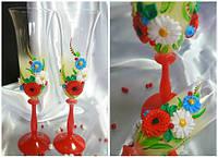 Свадебные бокалы на красной ножке, богемское скло