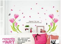 "Наклейка на стену, наклейка цветок, наклейки на шкаф ""Тюльпаны с бабочками"", наклейки на окна, лист 50*70см"