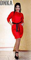 Стильное короткое женское платье с кожаным поясом с карманами рукав длинный дайвинг 3D батал