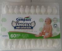 Детские ватные ушные палочки с ограничителем Ultra Compact 60 штук