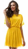 Нежное гипюровое женское платье с коротким рукавом микромасло