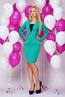 Платье 898 мятное в деловом стиле с иммитацией костюма из тисненного трикотажа