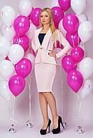 Платье 898 цвета пудры офисное в виде костюма с узкой юбкой из трикотажа с тиснением