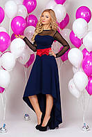 Платье  891 темно синее с черными прозрачными вставками короткое впереди и длинное сзади