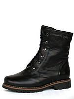 Женские кожаные зимние ботинки со шнуровкой на рифленой подошве