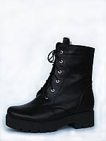 Женские ботинки Combat Boot (берцы) из черной матовой кожи