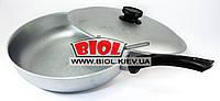 Сковорода алюминиевая 28 см ровное дно, пластиковая ручка, крышка БИОЛ А283