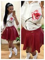 Расклешенная юбка из экокожи