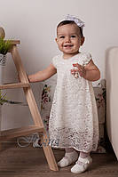 Платье детское нарядное длинное на девочку Тм НЯНЯ /рост 68 cм (6 месяцев)/ 74 см (9 месяцев)/ молочное