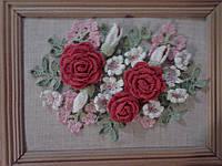 Картина из роз вязанных крючком  (ручная работа)