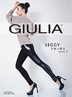 Черные леггинсы со вставками под кожу ТМ GIULIA