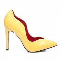 Необычные женские туфли лодочки желтые