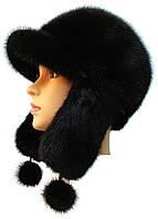 Стильная  шапка ушанка из меха норки черного цвета