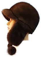 Меховая красивая норковая  шапка ушанка цвет орех