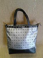 Женская сумка-планшет,стального цвета из качественного кожзама