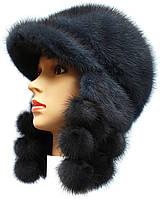 Норковая  шапка ушанка с ушками из помпонов цвет ирис