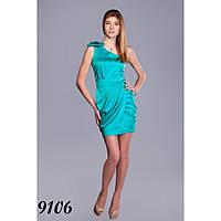 Атласное бирюзовое вечернее платье