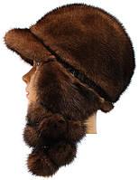 Модна  шапка ушанка из меха норки цвет  орех