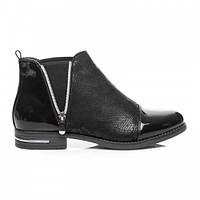Женские лакированные ботинки черные с замком