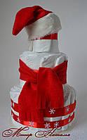 Торт из памперсов Новогодний Санта 40 штук