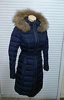 Полу-пальто с мехом енота snowimage q306 синий