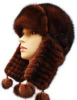 Стильная шапка ушанка плетенное ухо терракотовый цвет