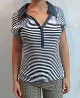 Футболка женская ТОММУ (17) белая с темно-синим код 133д